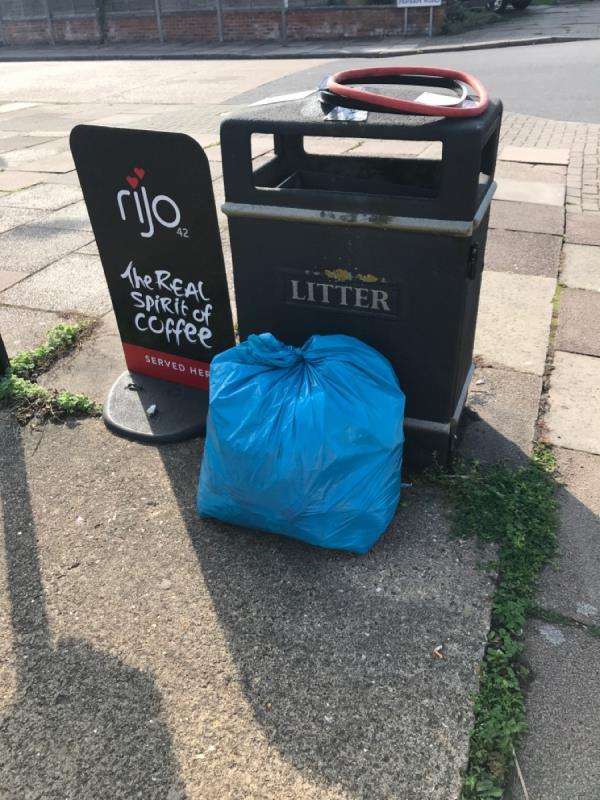 I've picked up street litter in this area and put it i a blue bag by the bin-2 Parvian Road, Leicester, LE2 6TS