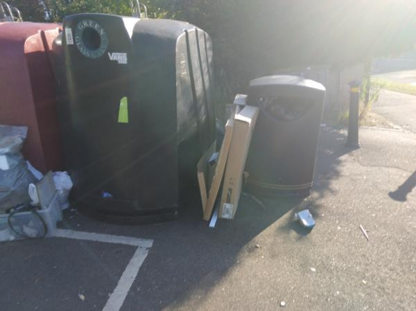 More rubbish dumped beside the recycling site in the community centre car oarkon Wensley Road.-Wensley Court, 193 Wensley Road, Reading, RG1 6EA