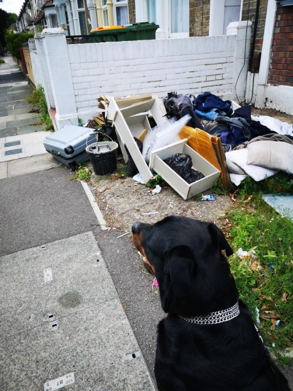 Rubbish dumped again. Walking my dog and haven't even left without seeing 2 lots of rubbish being dumped. -89 Inniskilling Road, Plaistow, E13 9LD