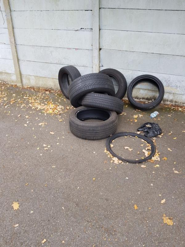 tyres dumped all down road (Sedgehill road)-67 Thurbarn Road, Bellingham, SE6 3QD