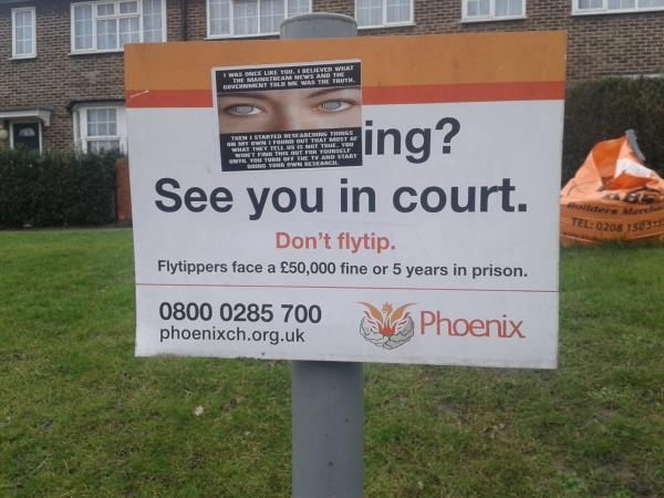 Remove fly postering from Phoenix Community Housing flytipping sign-197 Southend Ln, London SE6 3DP, UK