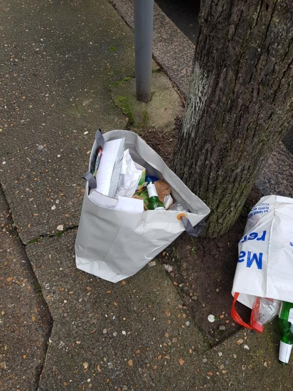 Rubbish and food waste dumped on pavement.  image 1-53 Seventh Avenue, London, E12 5JL