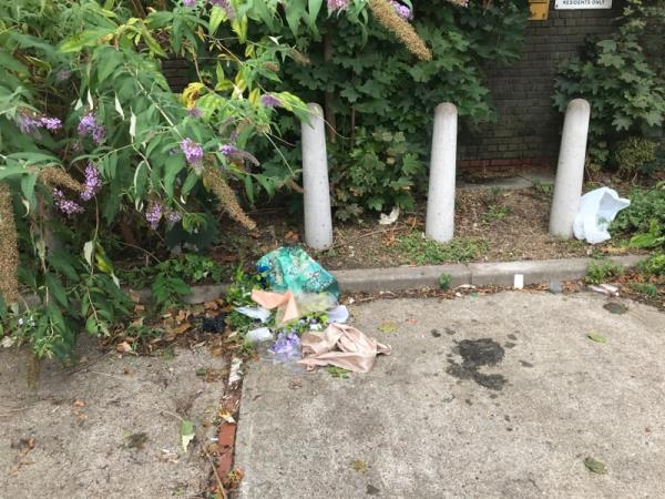 More rubbish dumped in parking bay-2 Hughan Road, London, E15 1LS