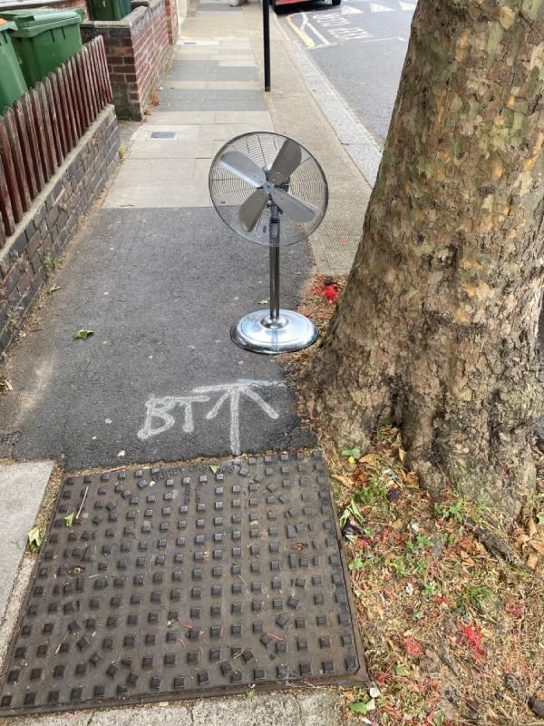Fan left outside 181 Third Avenue-185 Third Avenue, Manor Park, E12 6DS