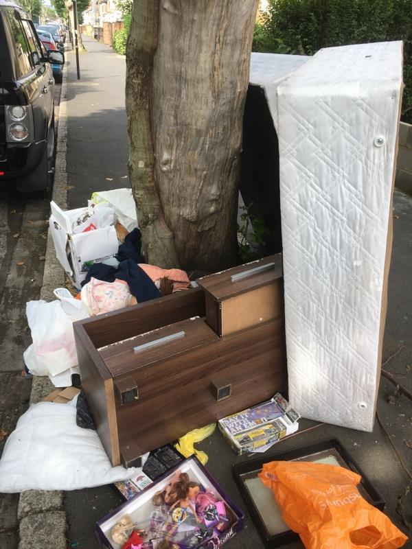 2 no large pile of flytipped rubbish please clear-141A Earlham Grove, Forest Gate, London E7 9AP, UK
