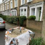 Building materials left behind blocking on street parking bay outside no 11 Lidfield Road.-8 Lidfield Road, London, N16 9NA