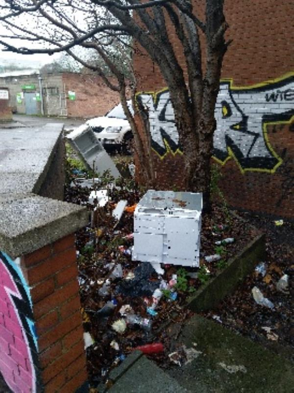 Dumped Fridges  on Nichols Street opp.  Himan-24 St Georges Way, Leicester LE1 1SH, UK
