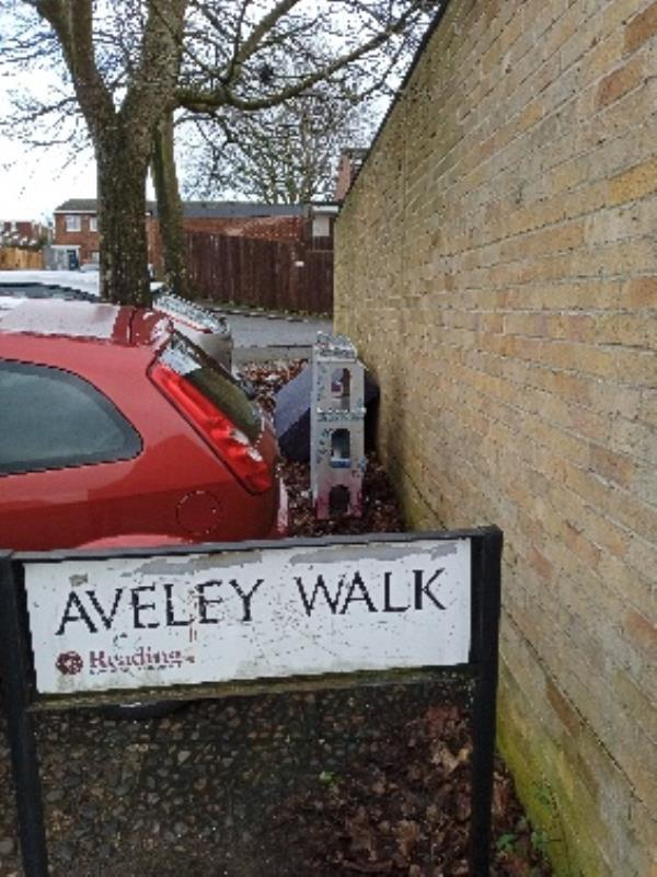 Aveley Walk, entrance to the road by garages -1 Aveley Walk, Reading, RG2 0AP