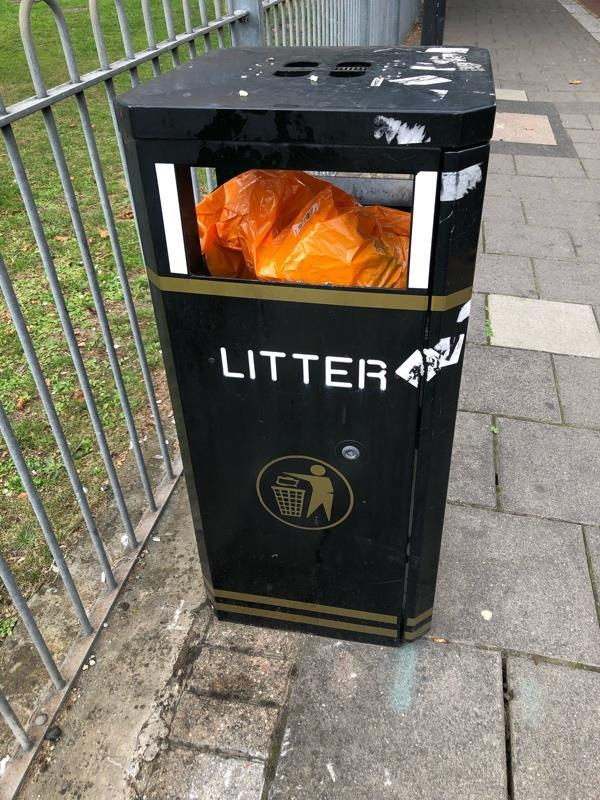 Both bins full now on Major road the on corner and the one near the bus stop too. The recycling cardboard bin is still overflowing too.-159 Chobham Road, London, E15 1AB