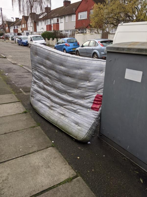 Mattress dumped, suitcase dumped, other litter being added to the pile-9 Brockley Hall Road, Honor Oak Park, SE4 1RH
