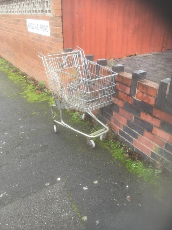 Shopping trolley dumped -4 Kingswood Avenue, Leicester, LE3 0UL