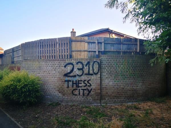 Graffiti coming out of Beckton Park on a residents wall-16 Yarrow Crescent, London, E6 5UH