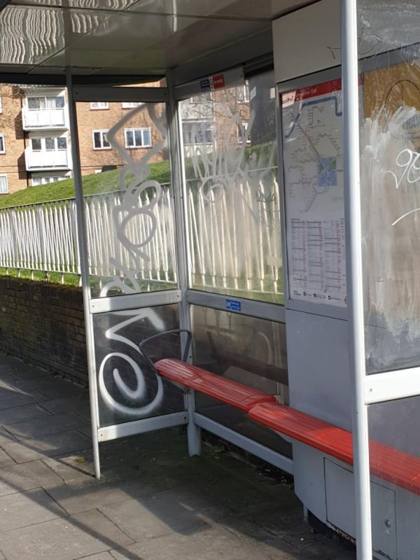 363 bus shelter with graffiti-366 Wood Vale, London, SE23 3DY