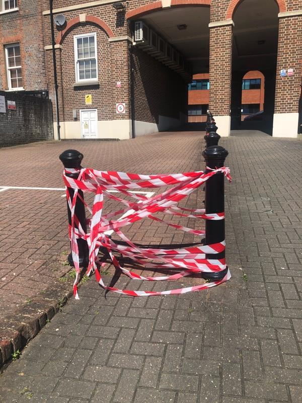 in the exact location pinned behind Castle Street this red and white tape has been put up assumedly to stop fast motorcycles or a small motorVehicles that make loud noise. This is not a permanent solution can this be a signal to try to get this dealt with so we do not have this situation going on. Ward councillors trying to deal with this a year ago but there was little motion forward-St Marys Grove, Castle St, Reading RG1 7RQ, UK