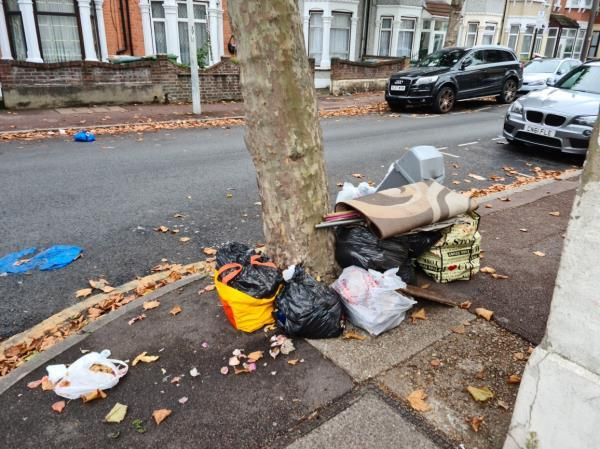 Lots of rubbish dumped by tree on the corner.-1 Essex Road, Manor Park, E12 6RF