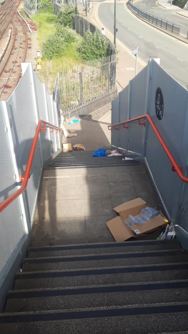 rubbish on foot bridge-120 Victoria Dock Road, London, E16 1HL
