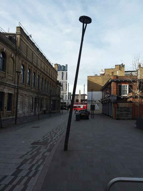 bent street light at this location-3 Tramway Avenue, London, E15 4PN