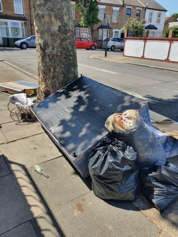 bedstead, TV box, general rubbish -61 Lansdown Road, London, E7 8NF