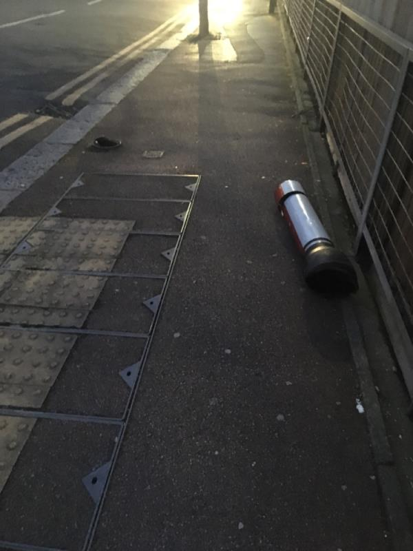 This was originally reported on 17/01/20 as being bent. Job not completed and now its come off completely. Needs replacing, this is lollipop crossing point-20 Odessa Road, London, E7 9BH