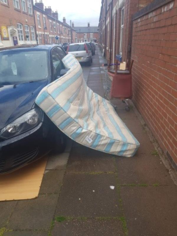matterass has been dumped on my car, fly tipping occurred few weeks ago, no response from the council-1 Glen Street, Leicester, LE4 6NN