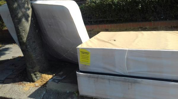 Mattress and bedbases dumped at Halley Road junction with Katherine Road -107 Halley Road, Upton Park, E7 8DX