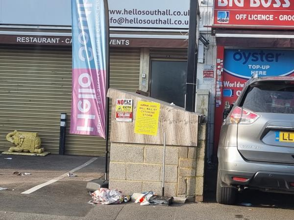 Vaccine poster illegal on bin storage area-14 Beaconsfield Road, London, UB1 1DW