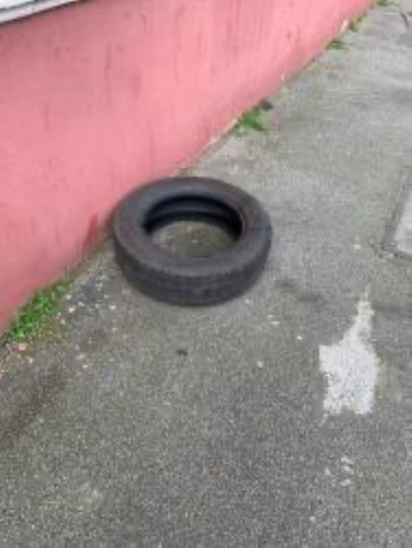 Junction of Marvels Lane. Please clear tyre-5 Luffman Road, London, SE12 9SZ