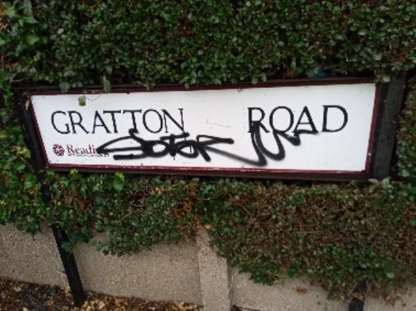 Graffiti on the street nameplate -511 Northumberland Avenue, Reading, RG2 8NU
