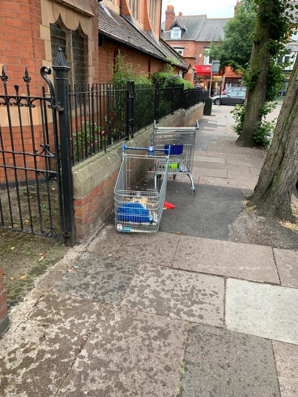 Broken trolleys  -2 Harrow Road, Leicester, LE3 0LF