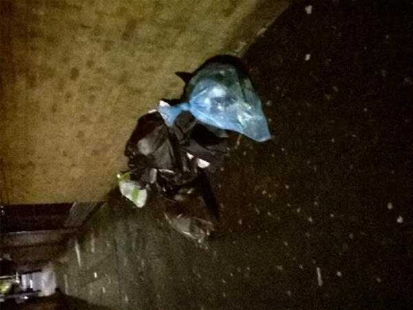 Fly tipped black bags by No 1 Milton Avenue E6-1 Milton Avenue, London, E6 1BG
