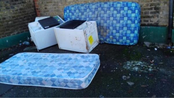 2 mattresses and 2 small fridges dumped near 153 Boundary Road junction with Clacton Road -151 Boundary Road, London, E13 9PT