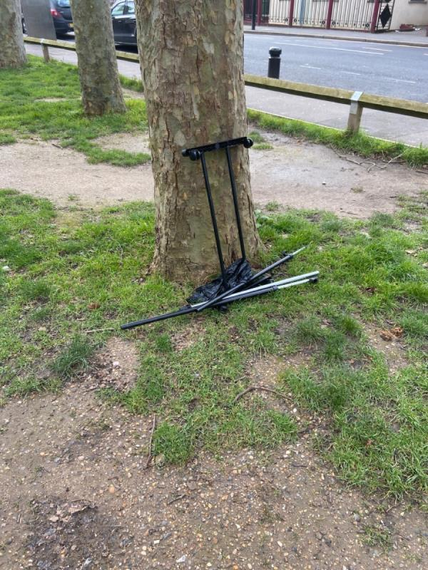 Metal frame dumped outside shops by Beckton Community Centre-6 E Ham Manor Way, London E6 5NA, UK