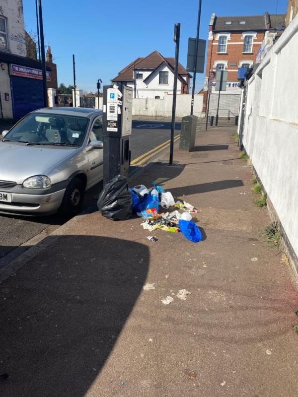 Fly tipped bags of food rubbish-4 Goldsmith Avenue, London, E12 6QD