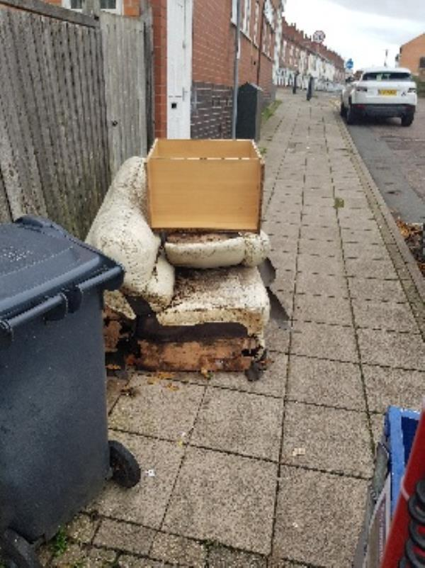 illegal flytipping. from back yard. opp num 121 bolton rd-229a Hinckley Road, Leicester, LE3 0TG