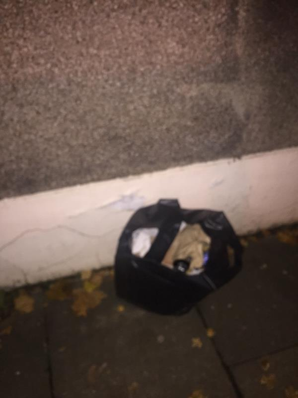 Bin bag of rubbish dumped outside no. 70 - please remove. Thanks -76 Springfield Road, London, N15 4AY