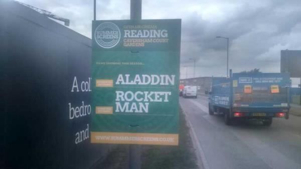 fly-poster on the sign -6a Portman Road, Reading, RG30 1EA