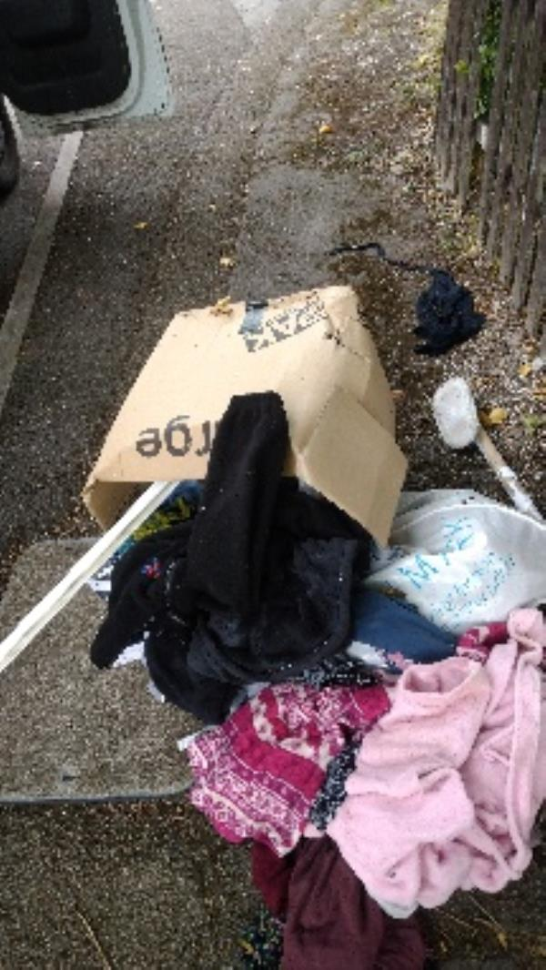 Box of flytipped clothes no evidence taken -100 Barnsdale Road, Reading, RG2 7JW