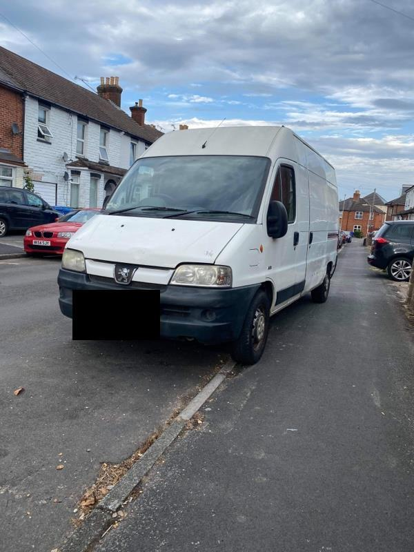 This van has been parked on the pavement for a number of weeks. Residents believe it may be abandoned.-17 Canning Road, Aldershot, GU12 4RT