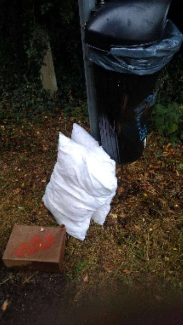 Flytipped pillows and shoes no evidence taken -28 Lower Meadow Road, Reading, RG2 7LZ