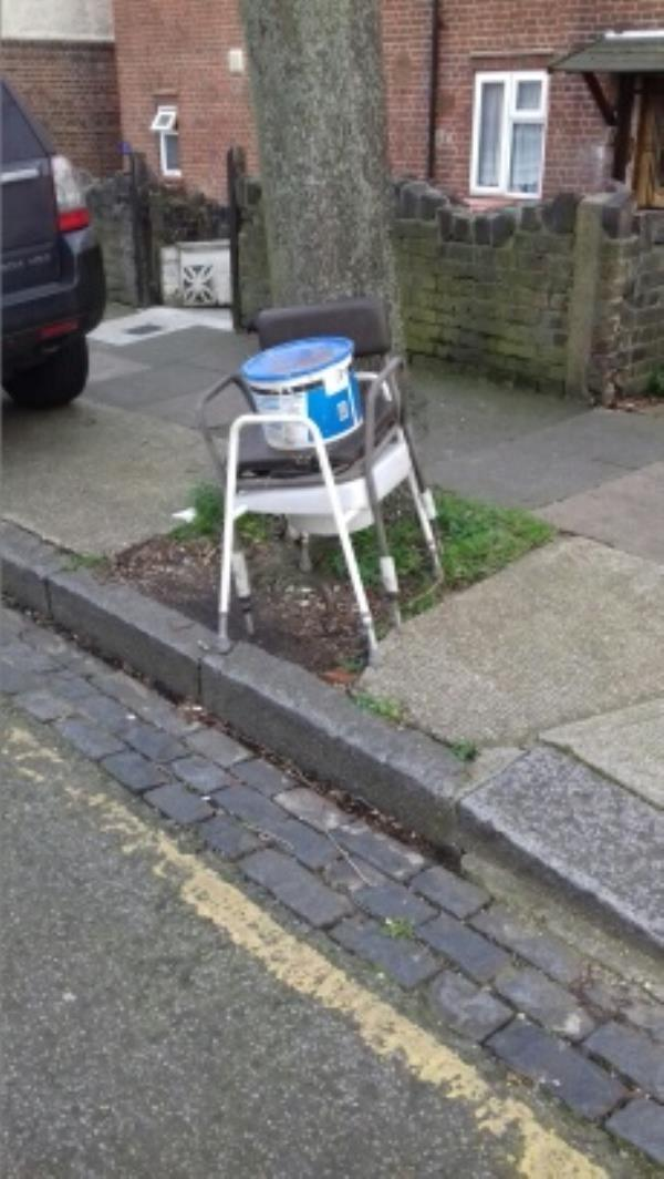 2 commodes and a paint container dumped outside 41 Palmer Road -28 Palmer Road, London, E13 8NT