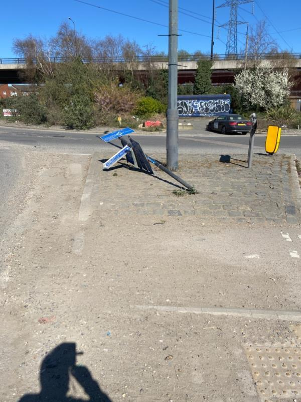 Cycle routes sign knocked down at junction of Dock Road -9 Dock Road, London, E16 1DF