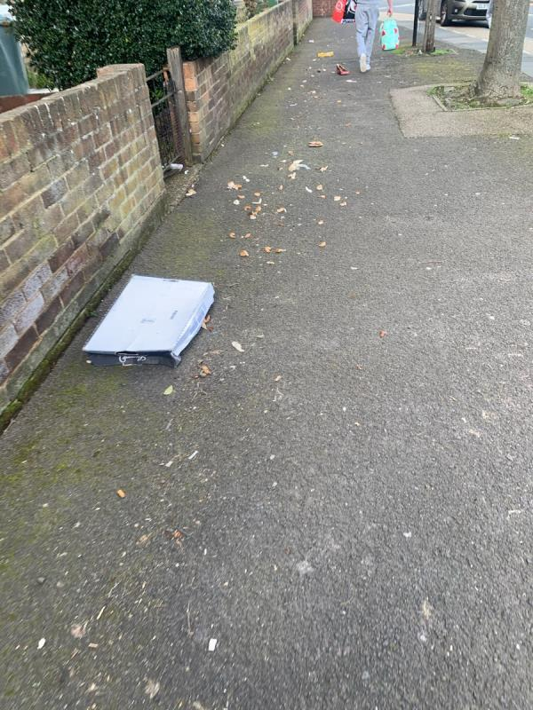 Loads of mess all along kelland road needs sweeping the whole pavement all the way along  image 1-2 Kelland Road, London, E13 8DS