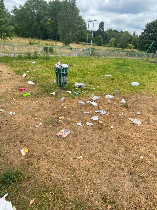Childrens playground covered in litter as bins full -Rivermead Leisure Complex Richfield Avenue, Reading, RG1 8EQ