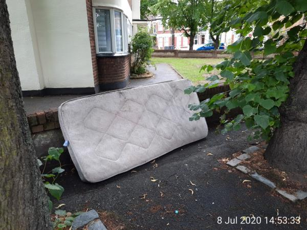 Dumped mattress, corner of Lordship Lane/Bruce Grove o/s Bruce Grove Ct -Bruce Castle Court, Lordship Ln, Tottenham, London N17 6RR, UK