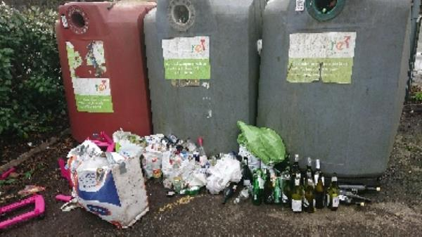 Bottle banks full needs to be emptied cleared excess bottle s -Blewgarth The Warren, Reading, RG4 7TH