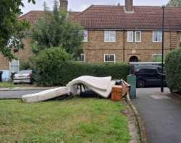 Junction of Ravenscar Road. Please clear Flytipping from Grass Area.  Reported via Fix My Street-30 Shroffold Road