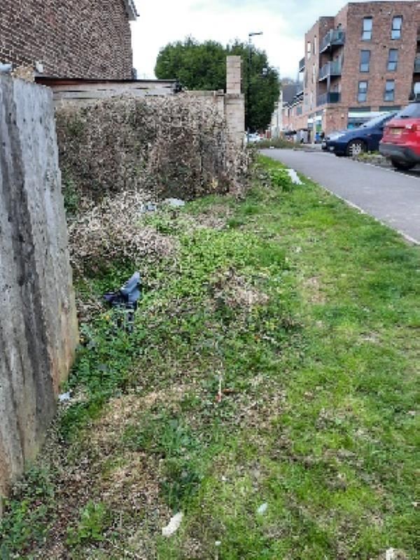 dumped rubbish including old chair, cupboard panel and builders rubble. Too big for us volunteer litter pickers to remove.-3 Eddleston Way, Reading RG30 4GY, UK