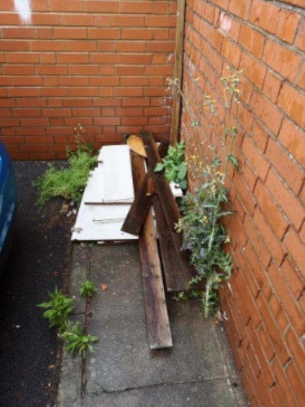 Wood has been dumped, amount has gradually increased over the week. -4 Ruddington Walk, Leicester, LE4 2FH