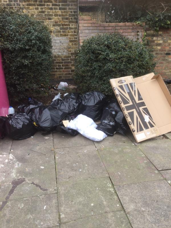 Next to recycling bins -5 Southchurch Rd, East Ham, London E6 6DZ, UK