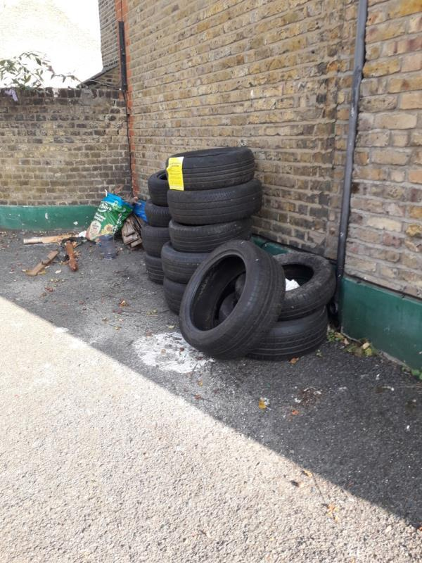 tyres, wood -153 Boundary Road, Plaistow, E13 9QF